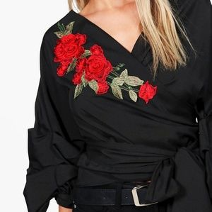 Boohoo Tops - Boohoo Orla Embroidered Wrap Ruched Sleeve Blouse